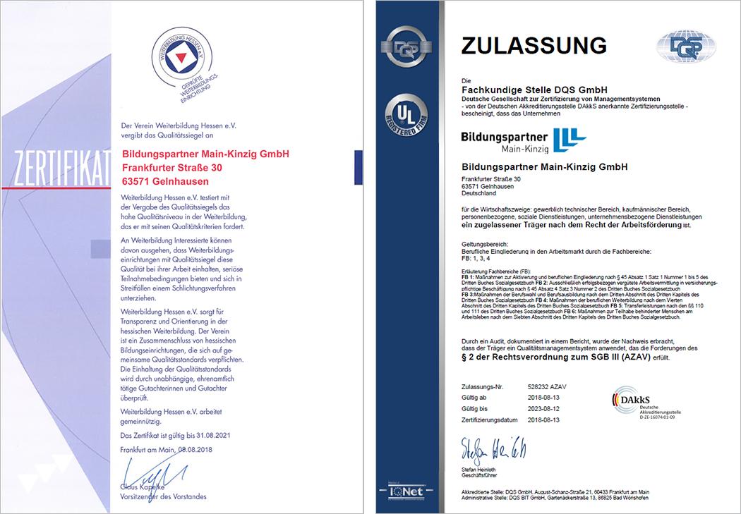 Zulassung & Zertifikat
